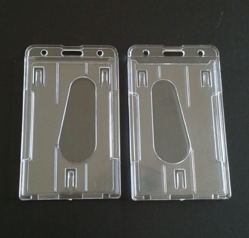 1pcs 1Pcs Clear Vertical Hard Plastic Double ID Card Slots Badge Holders