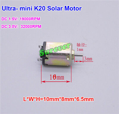 Ultra Mini K10 Solar Model Motor Dc 1.5v-3v 19000rpm-32000rpm For Aircraft Toy