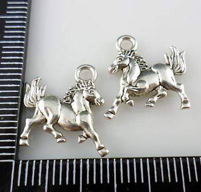 30pcs Tibetan Silver Horse Charms Pendants DIY Jewelry Making 15x14mm