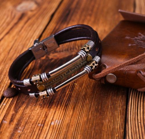 Vintage Men Metal Steel Studded Surfer Leather Bangle Cuff Bracelet Gift