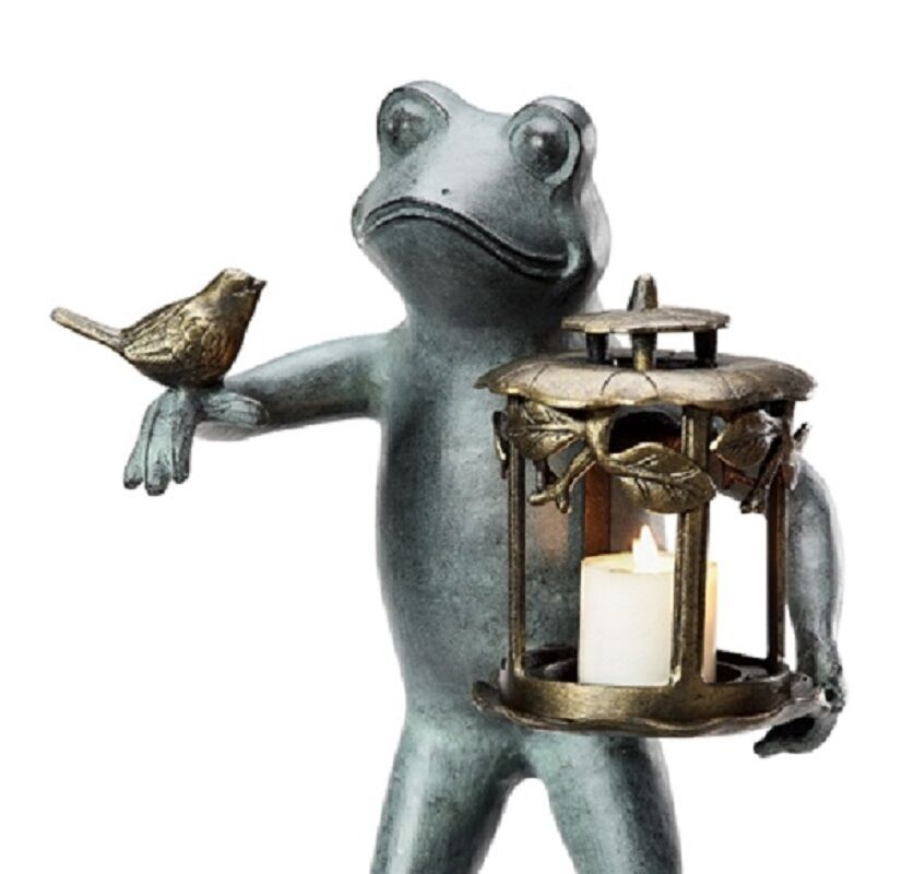 Frog bird friend garden lantern whimsical sculpture for Whimsical garden statues