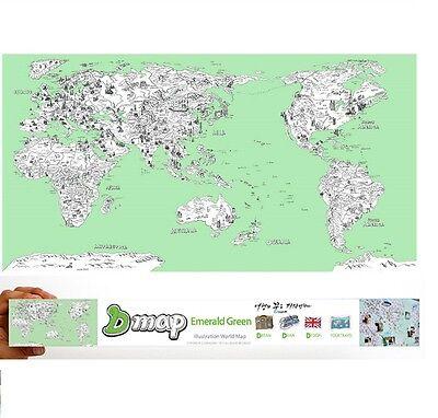 "DREAMSKY D-Map Green Illustration World Map Poster w/ Deco Sticker 36"" x 20"""
