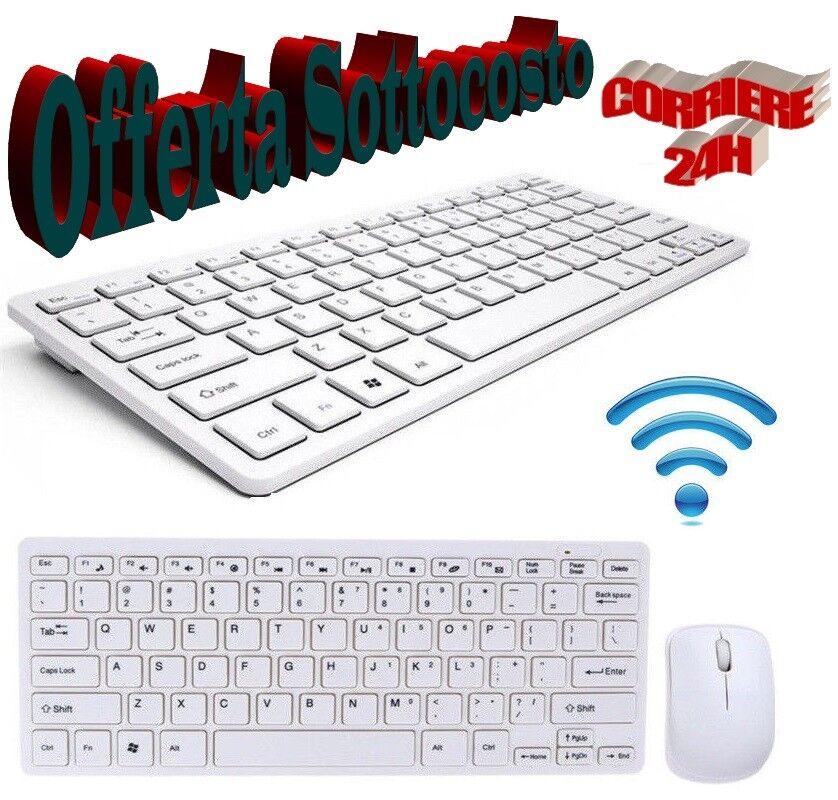 KIT TASTIERA E MOUSE WIFI WIRELESS PER PC 2.4 GHz KEYBOARD USB SENZA FILI MNT