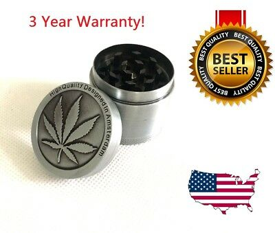- 4 Piece Herb Grinder Spice Tobacco/Weed Smoke Zinc Alloy Crusher Leaf Design