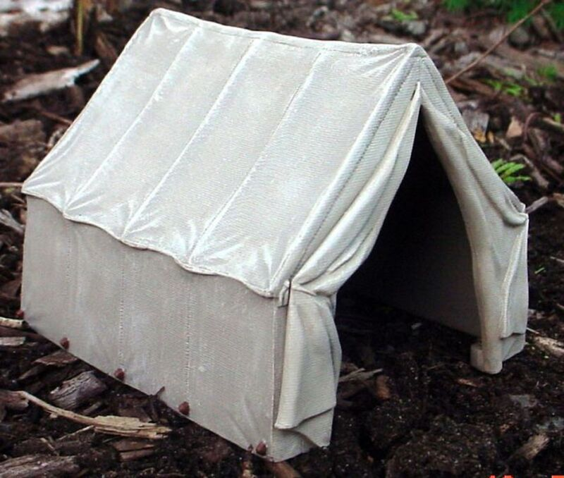 Canvas Tent Miniature Highly Detailed 1/24 Scale G Scale Half Scale Diorama Item
