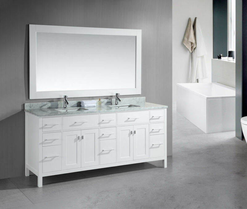 "Design Element London 78"" Double Sink Vanity In White Dec088-w"