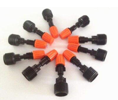10pcs Misting Plastic Atomizing Sprinkler Nozzle 12 Thread Flow Adjustable
