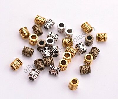 - 20/50/100Pcs Tibetan Silver Tube Big Hole Spacer Beads Jewelry Finding 6MM D3028