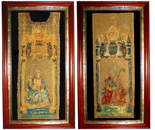 RARE 17TH C ITALIAN  GOLD EMBROIDERY CHASUBLE FRAGMENTS