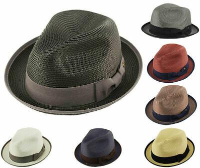 - Mens Crushable 2 Tone Summer Fedora Porkpie Hat w/ Upturn Brim Poly Braid Edge
