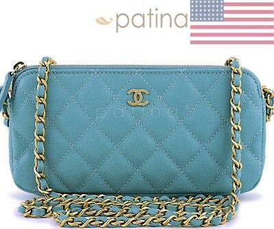 New 18C Chanel Irisdescent Blue Caviar Zip Wallet on Chain Clutch WOC Bag 62842