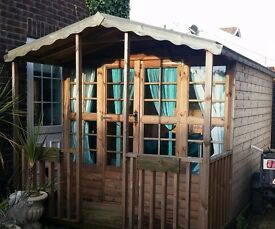 Wooden Outdoor Sun House with Veranda