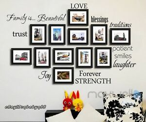 Family is Love Trust Forever Wall Quote Photo Frame Decals Stickers Decor Arts