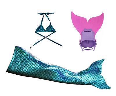 Sparkle Scale Swimmable Mermaid girls tails +Bikini top  monofin Kids cos - Kids Cos