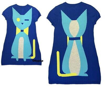 Girls Raspberry Plum 7-8 y blue Organic cotton intarsia knit cat dress European
