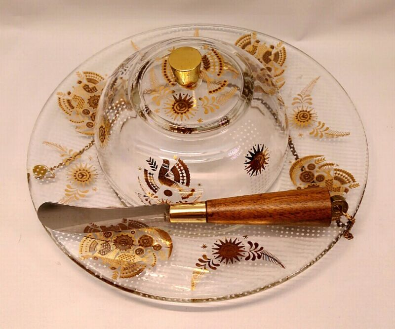 VINTAGE MCM GEORGES BRIARD GOLD DOVES DOME COVERED CHEESE PLATE W/ KNIFE RETRO