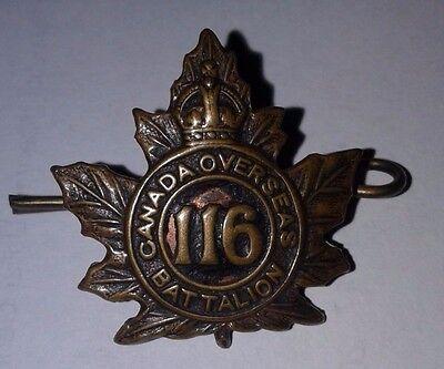 Original World War I WWI 116th Canada France Overseas Battalion Badge Authentic