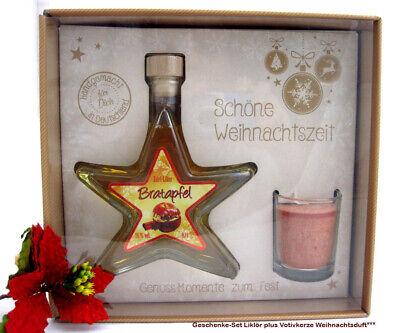"""Geschenke-Set """"Schöne Weihnachtszeit"""" mit Likör-Sternflasche / Kerze"""