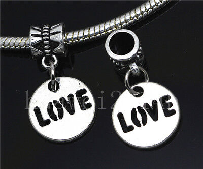 Silver Circular Bracelets - 6/30/100pcs Antique Silver Circular LOVE Bulk Dangle European Charms Bracelet