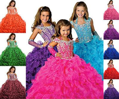 Blumenmädchen Kleid Hochzeit mit Mädchen Tüll Festzug Abendkleid Brautjungfer 2+