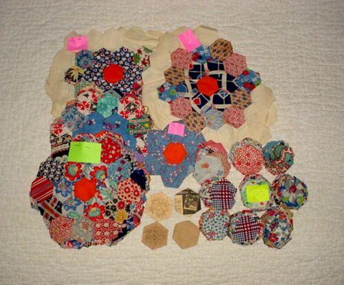 Antique Vintage Flower Garden Feed Sack Quilt Blocks & Pieces Hand Sewn