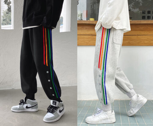 Men Casual Color Embroidery Joggers Cargo Pants Sweatpants Sport Loose Trousers