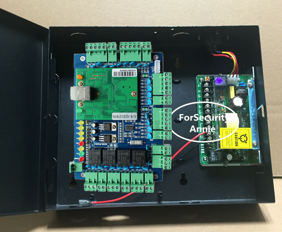 TCP/IP 4 Doors Web Access Access Control Board With Metal Power Supply Box