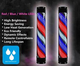 Bright High Power Waterproof Barber Sign Pole Led Light With Remote Control Salon Equipment Tools
