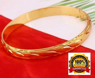 - 24k Yellow Gold Bracelet Bangle Womens Wave-Cut Design Opening +GiftPouch D415-5