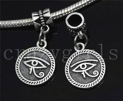Silver Circular Bracelets - 6/30/100pcs Tibetan Silver Circular Devil's Eye Dangle European Charms Bracelet