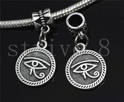Silver Circular Bracelets - New 6/30/100pcs Antique Silver Circular Devil's Eye European DIY Charms Bracelet