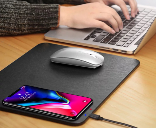 Luxury Qi Wireless Charger Fast Charging Leather Mouse Pad For Mobile Phones