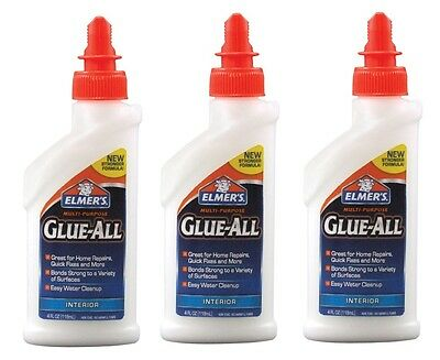 3~ Elmers Glue All 4oz Nonflammable Dries Clear High Strength Adhesive New E3810 - Elmers Glue All