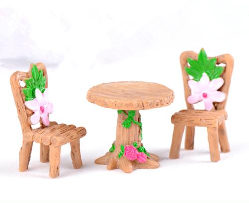 3pc Floral Table Chairs Miniature Micro Landscape Fairy Garden Dollhouse Decor