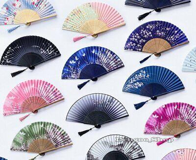 Chinese Japanese Folding Hand Held Fan Fan Silk Plum Flower Bamboo Pocket Gift