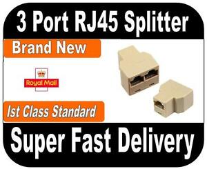 3 Port RJ45 Splitter Lan Ethernet Network Splitter CAT5 ***Brand NEW ***