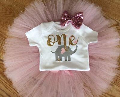 US 3PCS Baby Girl 1st Birthday Outfit Party Cartoon Romper Cake Smash Tutu - Cake Smash Girl