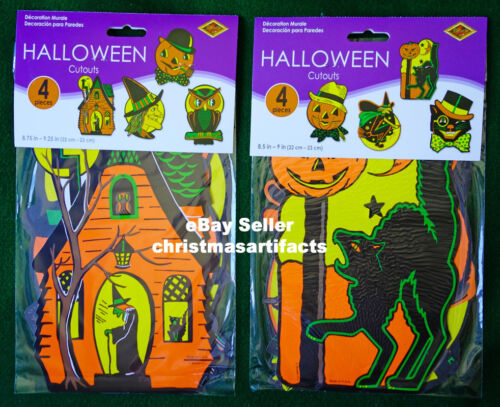 8 Vintage Style Beistle Halloween Cutouts Decorations 01009 New In Package