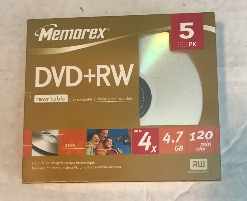 Memorex DVD+RW 4X |4.7GB 120 minute 5 Pack Re-writable Data Media