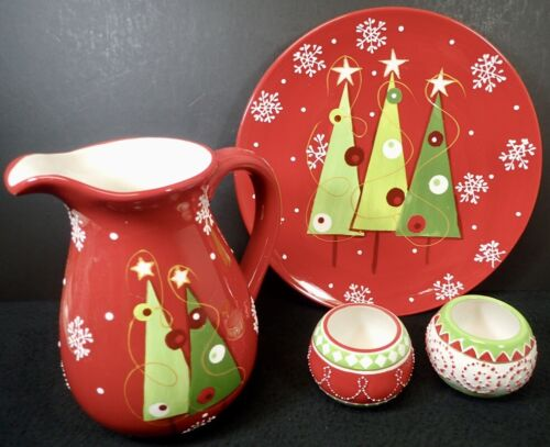 Contemporary Ceramic Holiday Platter, Pitcher & 2 Small Bowls
