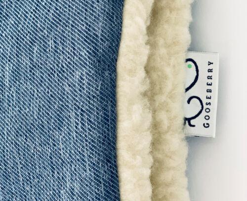 PRAM STROLLER SEAT LINER GOOSEBERRY Natural Lambs Wool Universal Blue Jeans