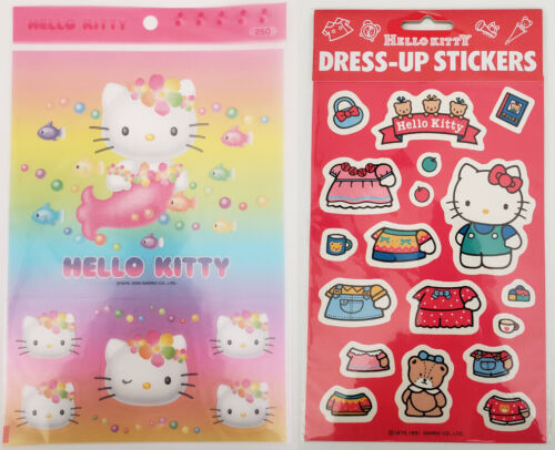 Vintage Sanrio HELLO KITTY DRESS UP RAINBOW MERMAID Large Stickers Sheets