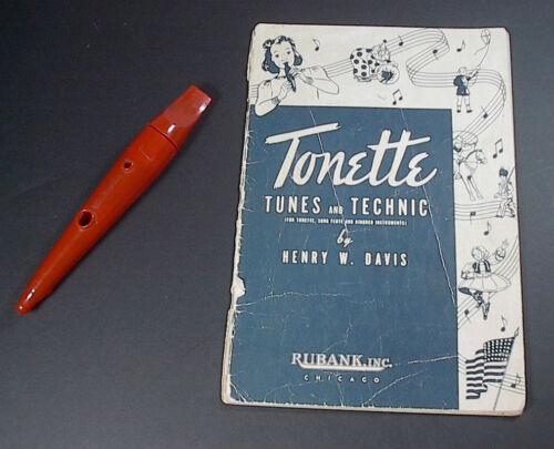 Vintage Swanson Tonette Orange Recorder 7 inch w/ 1941 Song Lesson Book