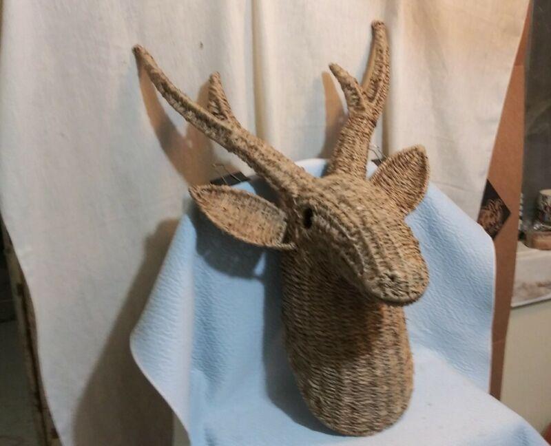"Vintage Wicker Rattan Large Deer Buck Head Antlers Wall Mount 26""x 12""x 16""*"