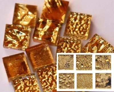 12 St. Goldmosaik in 6 Varianten 1x1cm Mix Gelbgold aus Glas Mosaiksteine ca 10g