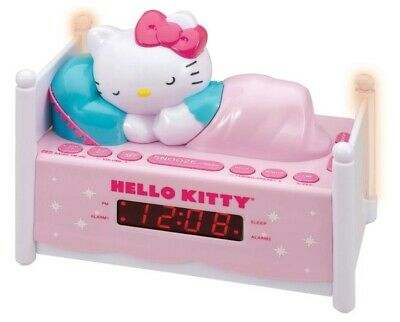 Hello Kitty Sleeping Digital Alarm Clock AM/FM Radio Pink Night Light Bed Sanrio