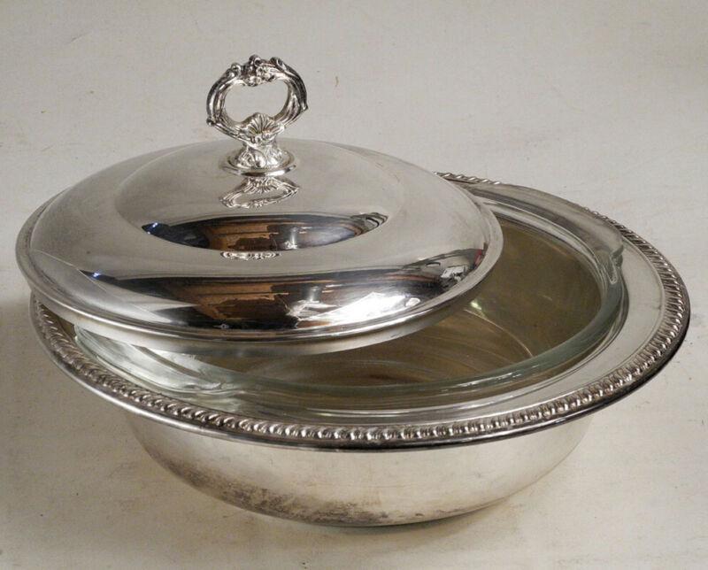 Sheridan Silver Plate Casserole Fire King Glass