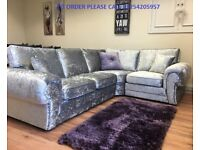 *** SPECIAL OFFER *** BRAND NEW TANGO CRUSHED VELVET CORNER SOFA OR 3+2 EXPRESS DELIVERY