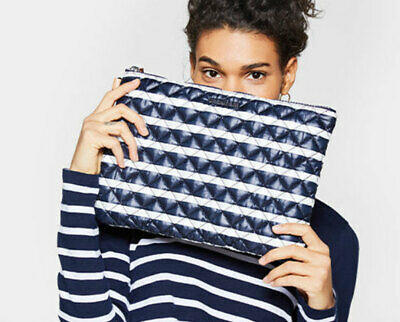 NWT MZ Wallace Quilted Metro Stripe Tech Pouch Oversize Clutch Bag Navy -