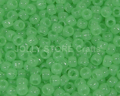 Green Glow in the Dark 9x6mm Pony Beads 500pc school crafts kandi party project